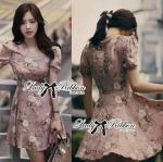 Lady Kylie Sweet Romantic Flowery Dress (สีชมพูพาสเทล)