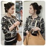 Lady Chiara Monochrome Zip Up Knit Jacket