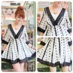 V neck sleev mini dress (สีขาว-ดำ)
