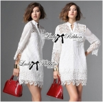 Lady Jane Classic Feminine Combined Lace Shirt Dress