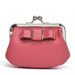 Coach Leather Darcy Bow Framed Coin Purse Wallet F62372 SVSY สีชมพู
