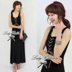 Jersey Cross Maxi Dress (สีดำ)