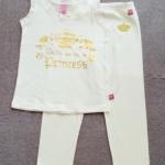 SLW-003 (3-4Y,5-6Y,7-8Y) ชุดนอนแขนกุด Adams Girl สีครีม ลาย Born to be a Princess ระบายริมผ้าลูกไม้