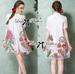Lady Claire Flower Embroidered Organza and Cotton Shirt Dress