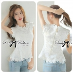Lady Nicole Classy Flared Sleeveless Lace Top