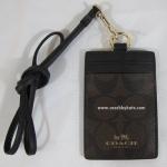 ที่ใส่ ID CARD COACH F63274 IMAA8 SIGNATURE KHAKI SADDLE LANYARD NECK ID BADGE HOLDER CASE