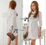 Lady Yuri All White Glam Chic Shirt Dress