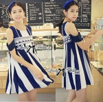 Lady Glamorous Chic Striped Cut-Out Dress in Navy Blue