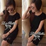 Lady Lauren Embellished Elegant Mini Dress (สีดำ)