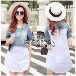 Lady Miranda Casual Cut-Out Denim and Button-Down Cotton Dress