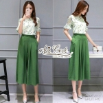 Piece Korean flower pin fizzled wide green pants by Aris Code