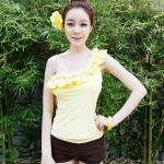 【พร้อมส่ง M】SB2005 บิกินี่แขนพาดบ่า สีเหลืองแต่งดอกกุหลาบ