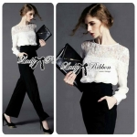 Lady Lana Smart & Chic Lace Blouse and Flared Pants Jumpsuit