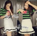 Lady Taylor Green Stripe Knit and Peplum Skirt Set