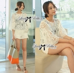 Lady Anna Sweet Vintage Flared Sleeve Lace Blouse