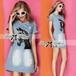 Lady Julia Horse Embellished Ripped Faded Denim Dress