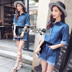 Lady Rosie Sporty Blue Denim Cotton Playsuit with Ribbon