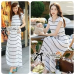 Lady Ribbon Blue & White Stripe Pleatpleats Maxi (สีขาว)