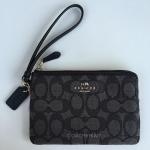 สินค้าพร้อมส่งจาก USA » กระเป๋าคล้องแขน COACH F54627 SVDK6 corner zip Signature wristlet Wallet fabric Leather Black