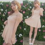 Lady Sweet Chic Day-to-Night Mini Dress (สีชมพูอ่อน)