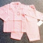 GS-621 (3Y,4Y,5Y) ชุดนอนผ้าทอ Mini Bear ลายสก็อตสีแดง-ขาว กุ๊นริมขาว