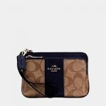 กระเป๋า Coach F52853 IMDT3 Double Zipper Pocket Wristlet Khaki/Midnt Sig Coated Canvas