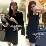 Lady Abigal Mini dress Outer Set (สีดำ)