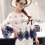 Lady Alice Casual Flower Embroidered Trim Lace Blouse
