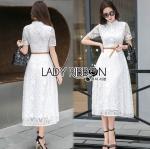 Lady Leslie Modern Feminine Lace Shirt Maxi Dress