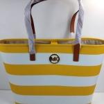 สินค้าพร้อมส่ง : กระเป๋า Michael Kors 35S4GVST2R MD Jet Set Travel Stripe Leather Tote Bag Sun/White