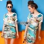 Lady Kim Summery Beach Printed Mini Dress