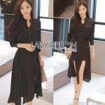 Lady Hana Studded Black Crepe Shirt Dress with Ribbon