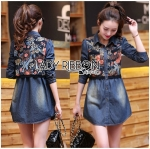 Lady Natalie Floral Printed Embroidered Denim Shirt Dress