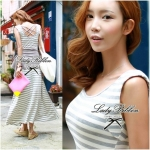 Cool Summer Minimal Striped Maxi Dress (สีเทา)