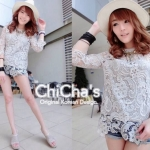 Zara Full Lace Blouse by ChiCha's (สีเทา)