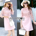 Lauren Holiday Look Guipure Lace Dress in Pink