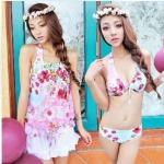 【พร้อมส่ง M】SB4002 ชุดว่ายน้ำ บิกินี่ ทูพีช เซ็ท 4 ชิ้น Colorful flower สวยเซ็กซี่