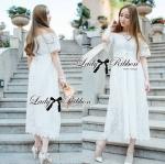 Lady Emilia Bohemian Off-Shoulder Embroidered Cotton Lace Maxi Dress