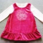 GS-701 (6M) ชุดกระโปรงผ้ากำมะหยี่ สีแดงเลือดหมู ปักลายดอกไม้ ระบายรอบชายกระโปรง พร้อมชุดบอดี้สูทตัวใน Love'n Cuddles สีชมพูอ่อน