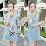 Lady Evelin Snoopy Sequin Embroidered Cut-Out Denim Mini Dress
