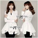 Lady Liza Basic Bold Peplum Shirt Dress in White