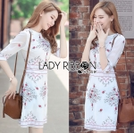 Lady Serena Smart Feminine Embroidered Cotton Dress