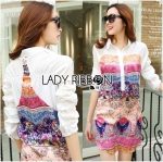 Lady Victoria Colourful Mixed Floral Printed Satin Shirt Dress