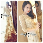 Lady Penelope Princess Delicate Lace Embroidered Long Dress