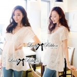 Lace v collar Korea blouse