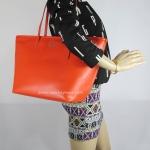 กระเป๋า Coach F34103 SV/CO Leather Street Zip Tote Shoulder Handbag Silver/Coral