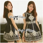Lady Annie Vintage Style Embroidered Sleeveless Dress