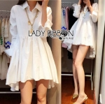 Lady Jane Feminine Asymmetric Peplum Cotton Shirt Dress