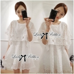 Lady Emily One-Layered Cut-Out Lace Dress in White