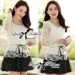 Lady Florent Graphic Chic Lace and Polka Dot Mini dress